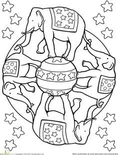 Mandala Elefantes circus kids crafts, circus crafts for kids, circus coloring pages, mandalas for kids, circus theme crafts for kids, kids circus crafts, coloring books, cirque coloriage, coloriage mandala