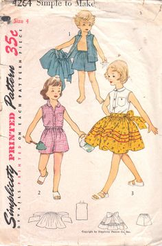 1950s Simplicity 4264 Girls Full Skirt Blouse and Shots Pattern Childs Vintage Sewing Pattern by mbchills