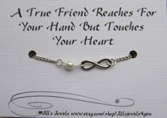 Frienship Infinity Charm Bracelet with Pearl and Quote Inspirational Card- Bridesmaids Gift - Friendship Bracelet - Quote Gift. $12.00, via Etsy.