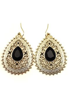 Luxury Black and Gold Rhinestone Golden Dangle Earrings #Black_and_Gold #Luxury #Earrings