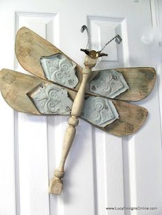 Lucy Designs: Table Leg Dragonflies with Ceiling Fan Blade Wings