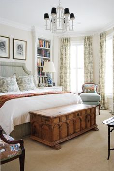 Classy bedroom...love everything, especially the bookshelves!