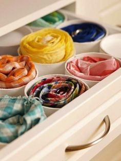 Or, you can use cut PVC for storing scarves, belts, or ties in drawers.  pvc pipe for sorting belts, scarves,