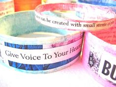 How to make a paper #bracelet - Cut Cardstock taped, cover with colored duck tape and then cut out saying from either printed sayings or magazines