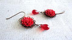 Red Dahlia Resin Flower Ruby Red Glass Teardrop by daydreamjewels, $12.00