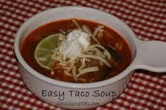 Easy Taco Soup | This is the most flavorful Taco Soup EVER and it's so easy to make! | www.satisfyingeats.com soups, easi taco, low carb, paleoprim soup, wheat belli, tacos, taco soup, satisfi eat, meal