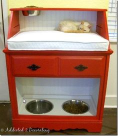 "Perfect for families who have cats and dogs.  @Karen's Floral Artistry Kroemer-Spiess....  I think you need to make one of these for the house!   Drawer for all the ""stuff"" and no more tripping over dog food bowls? Ummm... but maybe a bigger one? More kitty pillow & food space. Or  Maybe another one to be side by side with storage for food bags/bins and another kitty shelf. :-)"