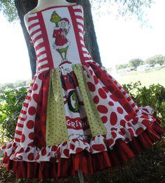 Custom Boutique Grinch Dr Seuss Christmas Holiday Dress