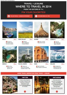 Travel + Leisure uses Pinterest in emails to make it easy for readers to Pin (and spread) top travel destinations.