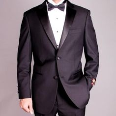 SKU#RA7788 Men's 2-button Black Tuxedo $149 Mens Discount Suits By Style and Quality 2 Button Suits