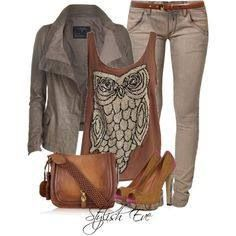 Owls! I wouldn't get far in those shoes, but I love the owl top. Cute!
