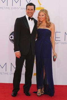 Jon Hamm in Giorgio Armani with Jennifer Westfeldt in J. Mendel at the Emmy Awards.