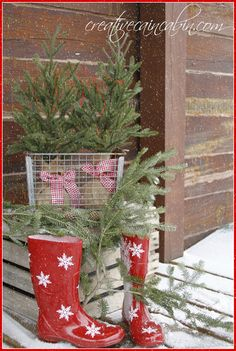 Creative Cain Cabin: Red Snowflake Boots, Gingham, and Pine. Snowy #Christmas Porch.