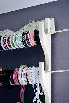 convert an old gun rack into a ribbon holder!  This is a great idea!!