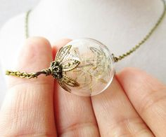 Dandelion Seed Glass Orb Terrarium Necklace by ViperCoraraDesigns