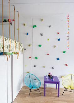 child's room rock climbing wall