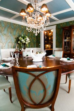 Ldg dining room inspired by james mcneill whistler 39 s for Peacock dining room ideas