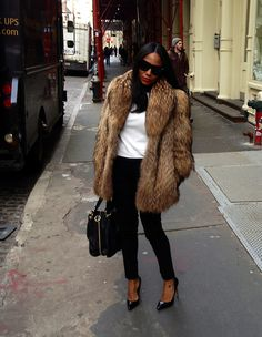 furs, outfit, street styles, red lips, beauty