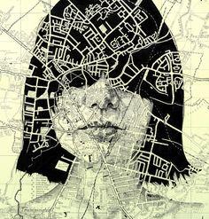 Elaborate portraits drawn on vintage maps by Ed Fairburn - ego-alterego.com