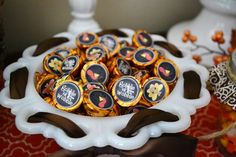 Kisses at a Thanksgiving party.  See more party ideas at CatchMyParty.com.  #thanksgivingpartyideas