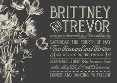 dark gray invitation with vintage inspired typography