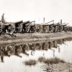 Richmond, Virginia. Captured siege guns at Rocketts
