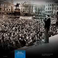 REACHING A CITY, ONE HEART AT A TIME  |  1954, Trafalgar Square, London, England  |  Thousands crowded the historic heart of London to hear Billy Graham's message of salvation in Jesus Christ.