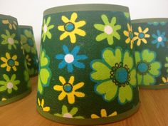 Vintage Retro Flower Lampshades by Woolworth 1970s