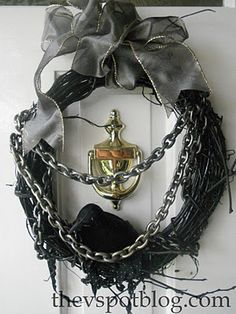 My Halloween wreath with raven and chains from the Dollar Store...
