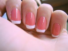 coral French manicure nails