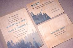 forests, mountains, wood wedding invitations, dates, pine forest