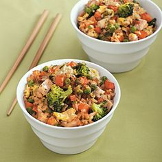 Chicken Fried Rice Recipe - uses rotisserie chicken and brown rice