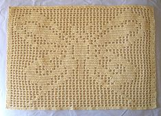 This Filet Crochet Butterfly is made of 4 ply cotton and measures about 30 inches x 21 inches (free chart). It is part 1 of a (free) lesson in Filet Crochet at Mom's Crochet. It will become a shawl with Lesson Part 2. http://www.moms-crochet.com