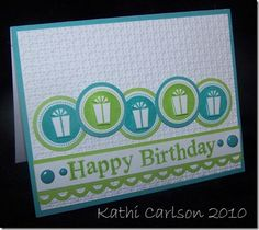 Circle Simple Birthday gift lime turquoise white card