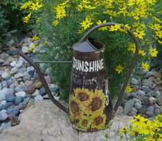 SUNFLOWER Watering CAN/Flower/Greenery Holder*Farmhouse Primitive Country Decor #NaivePrimitive