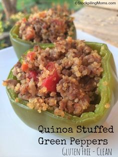 Quinoa Stuffed Green Peppers are gluten free and a clean dinner recipe. #LaurasLeanBeef #GlutenFree