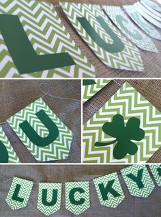 Free Printable St. Patrick's Day Lucky Banner. St. Patty's Day decorations lucki banner, banner printabl