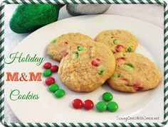 Festive Holiday M&M Cookies #recipe #christmas #cookies #ad