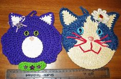 Crocheted Potholders Cat Kitty Kitten Face Hand by ShabbyBohemian, $10.00