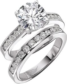 MY PERFECTION :) Hopefully one day soon :) - 2.5 mm band, round shaped diamond, 4 prong, channel set engagement ring with 2.5 mm channel set wedding band