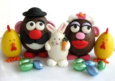 Playing with Food – how to make Easter eggs Mr. Potato Head and chicks with rolled fondant