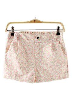 Sweet Pink Floral Printing Shorts