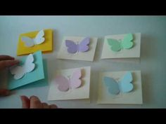Butterfly seed memorial cards which make thoughtful funeral gifts.  The butterfly is made of paper that is embedded with forget-me-not flower seeds.  Give them out at a funeral to help your guests remember their loved one.  http://www.nextgenmemorials.com/personalizedmemorialcards.html $2.75 in quantity of 100. #butterfly cards for funeral, #seed butterfly cards, #funeral gift, #funeral idea