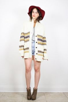 Vintage Hippie Sweater Chunky Knit Cardigan by ShopTwitchVintage