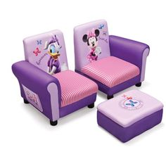 Disney -  3 Piece Upholstered Set, Minnie Mouse Connecting Sofa Couches and Ottoman Set