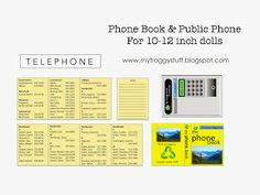 my froggy stuff printables | My Froggy Stuff: Telephone Booth and Phone Book for Dolls