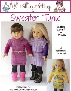 "PDF Knitting Pattern - Sweater Tunic with 3 Variations - 18"" Dolls like American Girl. $3.99, via Etsy.  If only I knew how to knit!"