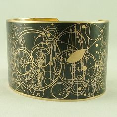 Brass Cuff with Gallifreyan symbols