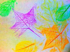 leaf rubbing with crayons :)