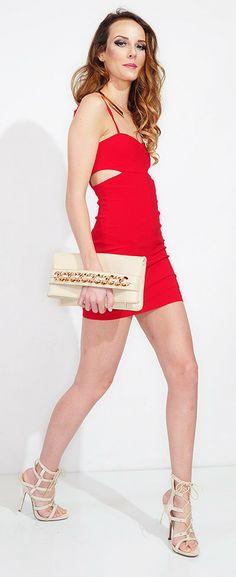 Red Sleeveless Bodycon Dress #cutout #minidress #partydress